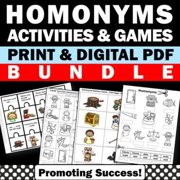 Homonyms Activities BUNDLE Games Worksheets Interactive Notebook