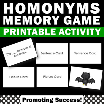 Homonyms Activities, Word Work Games, Speech Therapy Vocabulary Review