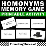 Homonym Game, ESL Vocabulary Memory Game, Homonyms Activities