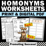 Homonyms Worksheets, Elementary ESL Activities, Speech Therapy Vocabulary