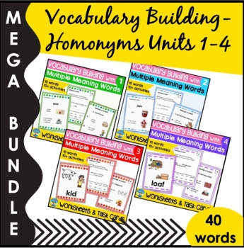Homonyms Skills Bundle Sets 1 to 4 Learning Multiple Meanings with Pictures
