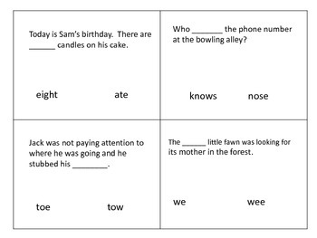Homophones Poke and Check Cards---140 words in all--70 pair
