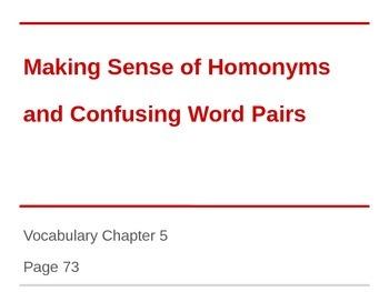 Homonyms Powerpoint for ESL