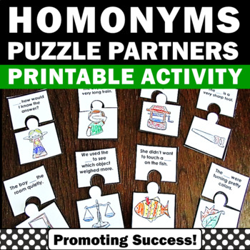 Homonyms Games, ESL Vocabulary for Beginners, Speech Therapy Activities