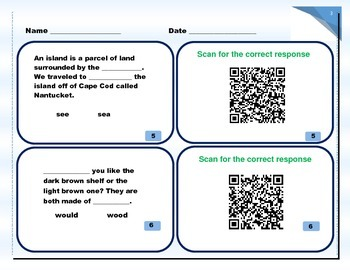 Homonyms - Self-checking with QR codes with Rebuttal (Common Core friendly)