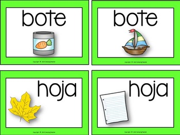 Homonyms Set Spanish Version Book to Create, Posters, Matching Cards