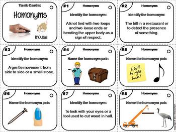 Homonyms Task Cards 2nd 3rd 4th Grade