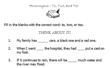 Homonyms - To, Two, Too