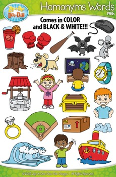Homonyms Word Clipart Set — Includes 40 Graphics!