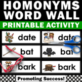 Homonyms Activities, ESL Word Wall, Speech Therapy Vocabulary