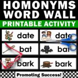Homonyms Activities, ESL Vocabulary, ELA Word Wall