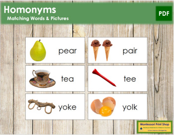 Homonyms: Words & Pictures