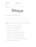 Homonyms Worksheet