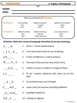 Homonyms Worksheets