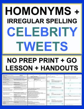 Homonyms and Irregular Spelling Celebrity Tweets Grammar Lesson & Worksheets