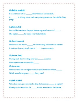 Homonyms by Alphabet Letter Quiz/Worksheet!