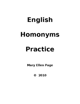 Homonyms for ESL and Language Arts