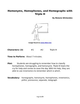 Homonyms, homophones, and homographs with Triple H - Reader's Theater