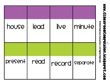 Homonyms (homophones, homographs) Word Cards (aligned with Reading Street 2011)