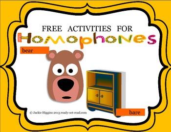 Homophone Activities (Bear Says Thanks)