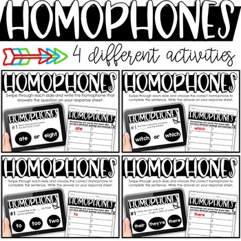 Homophone Activities - Printable or Digital for the Google Classroom