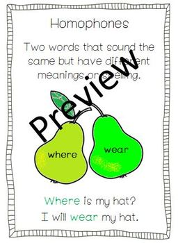 Homophone Activity, Worksheet and Poster
