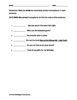Homophone Assessment