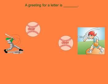 Homophones Baseball Game