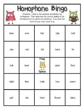 Homophone Bingo Game
