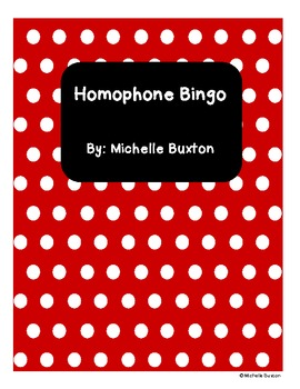 Homophone Bingo - Great Literacy Center and Fast Finisher