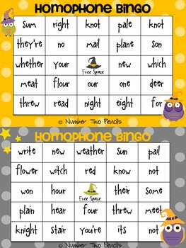 """Homophone Bingo, """"Hoo knows which witch is which?"""""""