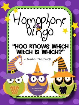 "Homophone Bingo, ""Hoo knows which witch is which?"""