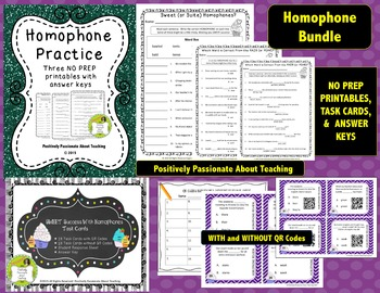 Homophone Bundle: Practice Printables & Task Cards (with and without QR Codes)