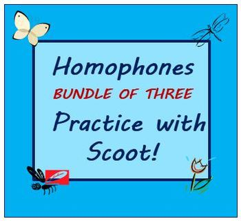 Homophone Bundle of Task Cards Scoot Game aligned w/ Commo