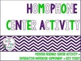 Homophone Center Activity