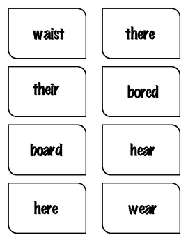 Homophone Concentration Card Game