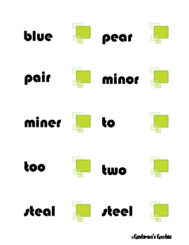 Homophone Concentration Cards