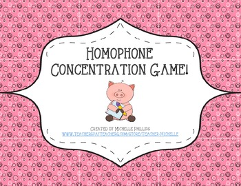 Homophone Concentration Game! - Literary Center Game