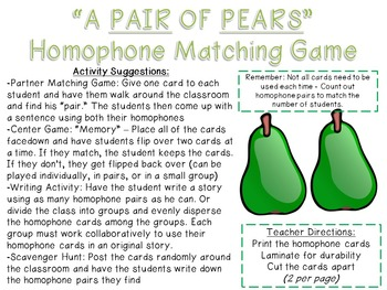 Homophone Concentration Matching Game