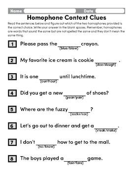 Homophone Context Clues 2