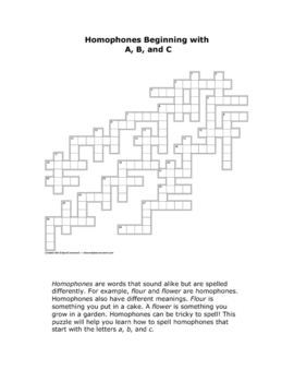 Homophone Crossword A-C: Unique Approach to Learning Homophones!