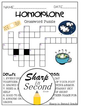 Homophone Crossword Puzzle Worksheets & Teaching Resources | TpT