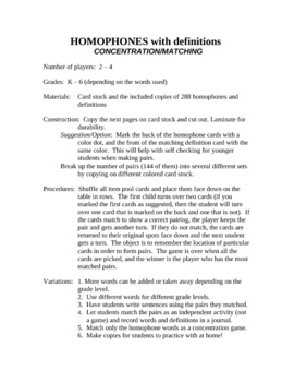 Homophone Definitions Concentration & Matching Game
