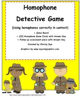 Homophone Detective Game Common Core Aligned Vocabulary Test Prep