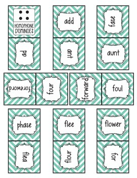 Homophone Dominoes Game