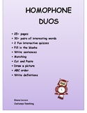 Homophone Duos - Pairs - Writing sentences, Matching, Defi