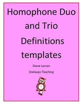 Homophone Duos & Trios definitions templates, compare/contrast aide