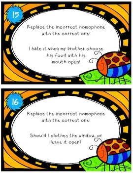 Homophone Error Analysis Task Cards - Common Core Aligned - Grades 2-4