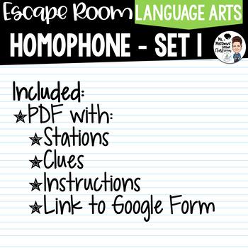 Homophone Escape Room Set 1