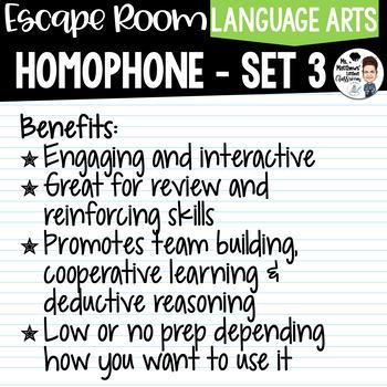 Homophone Escape Room Set 3